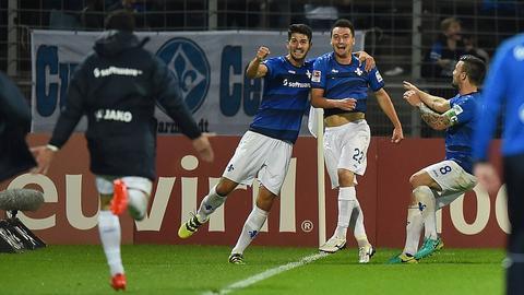 Torjubel beim SV Darmstadt 98 nach dem Last-Minute-Ausgleich gegen Hoffenheim.