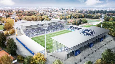 Visualisierung des Stadionumbaus in Darmstadt