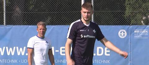 Lukas Mai mit seinem neuen Trainer Markus Anfang