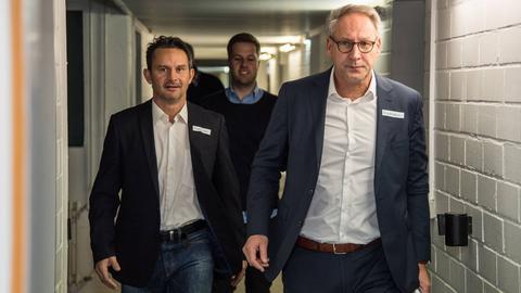 Dirk Schuster (li.) und Lilien-Boss Rüdiger Fritsch