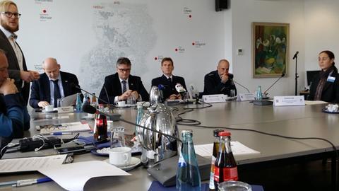 Die Sicherheits-Pressekonferenz in Darmstadt.