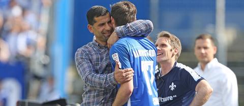 Sandro Sirigu und Dimitrios Grammozis vom SV Darmstadt 98.