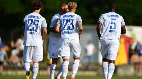 Lilien-Profis des SV Darmstadt 98 bejubeln einen Treffer