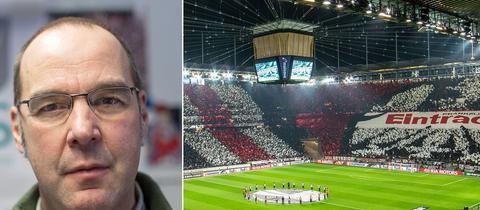 Links: Michael Gabriel, rechts: Eine Choreographie der Eintracht-Fans