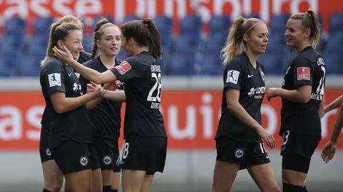 Jubel bei den Fußballerinnen von Eintracht Frankfurt
