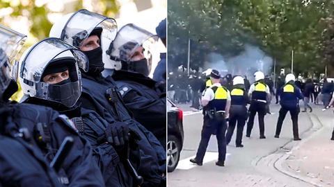 Fotokombination: links Polizisten in schwerer Ausrüstung und rechts Hooligans, die auf der Straße eine Bar in Antwerpen angreifen
