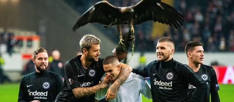 Pure Freude bei der Eintracht nach dem Sieg gegen Limassol.
