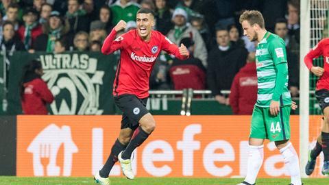 Aymen Barkok bejubelt den Siegtreffer gegen Bremen.