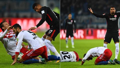 Eintracht-Profi Boateng stößt zwei Hamburger Spieler nieder.