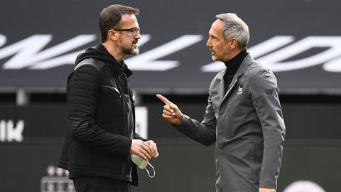 Adi Hütter (r.) und Fredi Bobic nach dem Spiel in Dortmund.