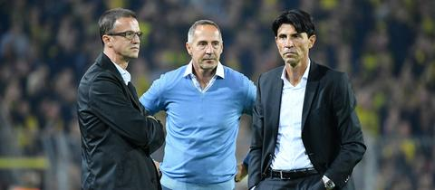 Fredi Bobic, Adi Hütter und Bruno Hübner von Eintracht Frankfurt.