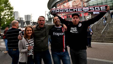 Fans der Eintracht vor dem Spiel gegen Chelsea.