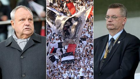 Collage: Harald Stenger, Eintracht-Fans, DFB-Präsident Reinhard Grindel