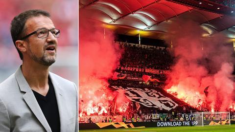 Collage: Fredi Bobic links und Eintracht Fanblock rechts