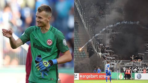 Eintracht-Keeper Hradecky und zündelnde Frankfurter Fans