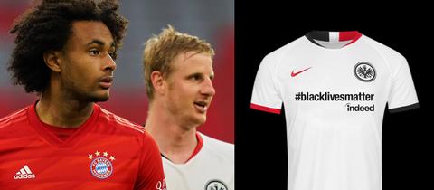 Das Sondertrikot der Eintracht und zwei Spieler