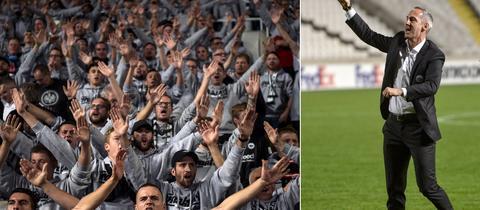 Eintracht-Fans und Trainer Adi Hütter