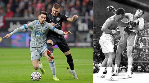 Eine Collage: Links Ante Rebic im Zweikampf, rechts Frazier im Boxkampf gegen Ali