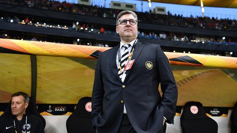 Eintracht-Vorstand Axel Hellmann freut sich über den Deal mit der Deutschen Bank.
