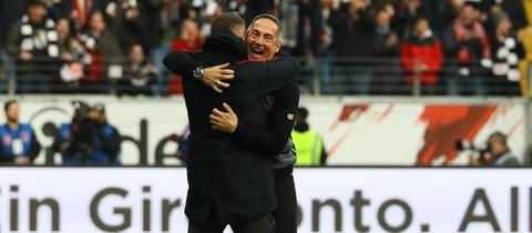 Eintracht-Trainer Adi Hütter jubelt