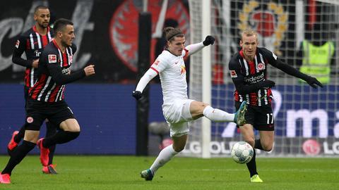Die Eintracht im Spiel gegen Leipzig