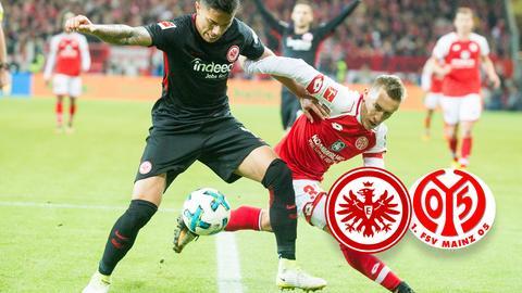 Ein Duell aus der Partie Frankfurt gegen Mainz
