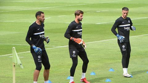 Jens Grahl, Kevin Trapp und Diant Ramaj bilden das neue Torhüter-Trio der Eintracht.
