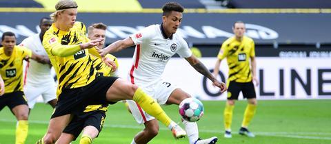 Eintracht-Abwehrmann Tuta hat BVB-Stürmer Erling Haaland ausgebremst.
