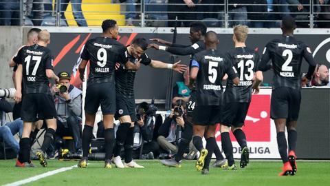Jubel von Eintracht Frankfurt gegen den VfB Stuttgart.