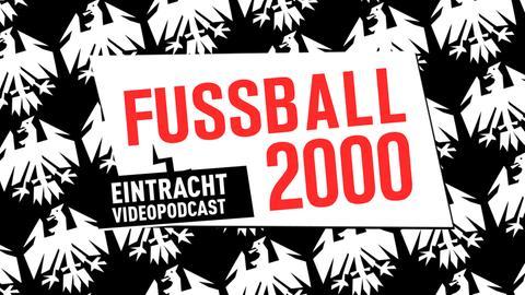 FUSSBALL 2000 auf Hintergrundbild mit weißen Adlern auf schwarzem Grund