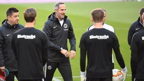 Eintracht-Coach Adi Hütter in Lissabon.
