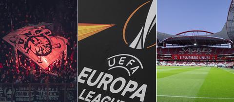 Collage: Pyro, UEFA-Logo und das Stadion in Lissabon