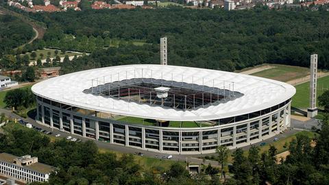 Die Commerzbank-Arena von oben