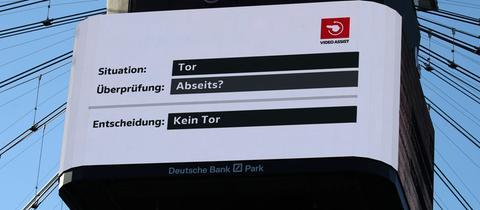 Der Videowürfel bei der Frankfurter Eintracht.