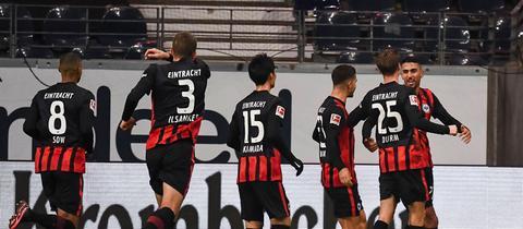 Einracht jubelt gegen Leipzig