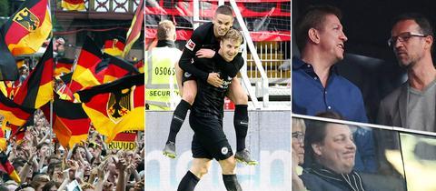 Collage: Deutschland-Fans, Hinteregger trägt Gacinovic Huckepack, Rehm und Bobic unterhalten sich