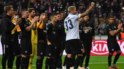 Die Eintracht bejubelt Sieg gegen Lazio