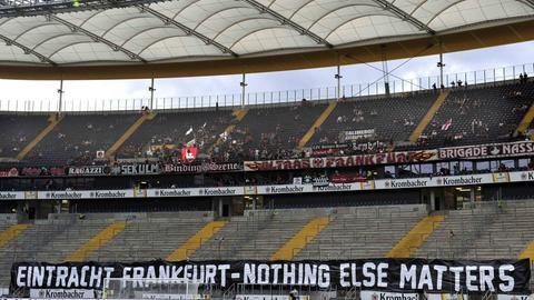 Leerer Fanblock in der Frankfurter Arena