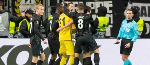 Eintracht Frankfurt vor dem Spiel gegen Inter Mailand.
