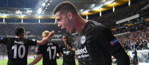 Luka Jovic von Eintracht Frankfurt beim Spiel gegen Chelsea.