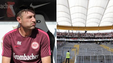 Collage: Robert Kovac pustet durch und der leere Fan-Block der Eintracht