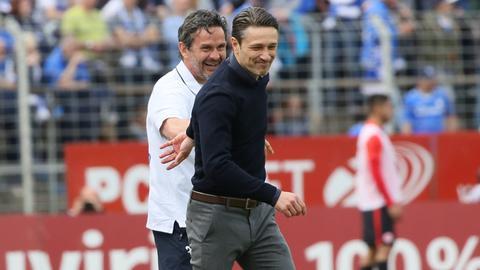Niko Kovac und Dirk Schuster bauen auf eine stabile Defensive.