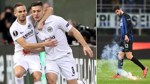 Freud und Leid: Die Eintracht-Spieler jubeln, aber wegen Pyrotechnik droht eine Strafe für die Fans.