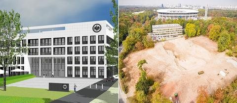 Collage: Entwurf der neuen Eintracht-Geschäftsstelle und die Baustelle vor dem Stadion