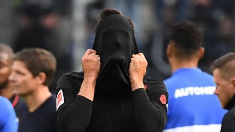 Enttäuschung bei Goncalo Paciencia nach dem Spiel gegen Berlin