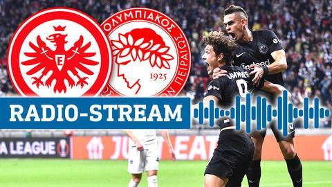 Die Logos von Eintracht und Olympiakos