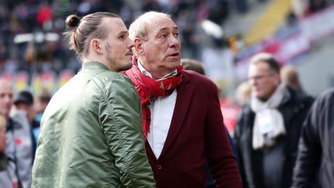 Eintracht-Präsident Peter Fischer und Torjäger Alex Meier