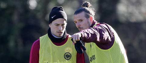 Oczipka und Meier im Training der Eintracht