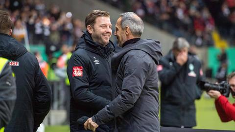 Florian Kohfeldt (li.) will Adi Hütter und Eintracht Frankfurt den Samstag vermiesen.