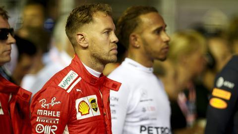 Sebastian Vettel hat seinen Rivalen Lewis Hamilton weiter im Blick.